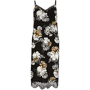 Black floral print lace hem slip midi dress