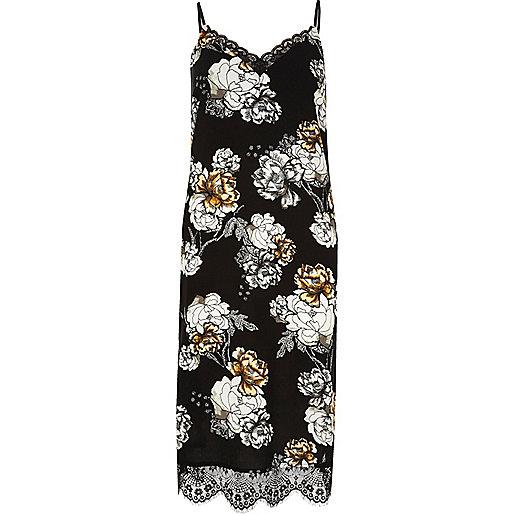 Robe mi-longue imprimé fleuri noir avec ourlet en dentelle