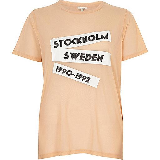T-shirt en tulle à imprimé rose pêche