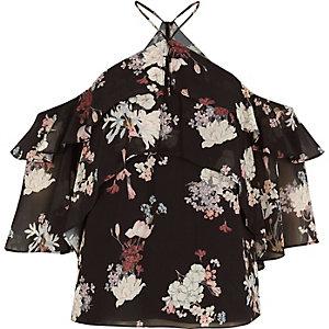Black print frill cold shoulder blouse