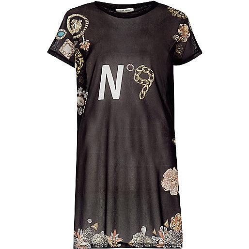 T-shirt oversize noir imprimé en tulle