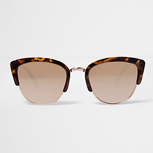 Brown leopard print mirror lens sunglasses