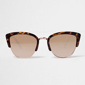 Bruine zonnebril met luipaardprint en spiegelglazen