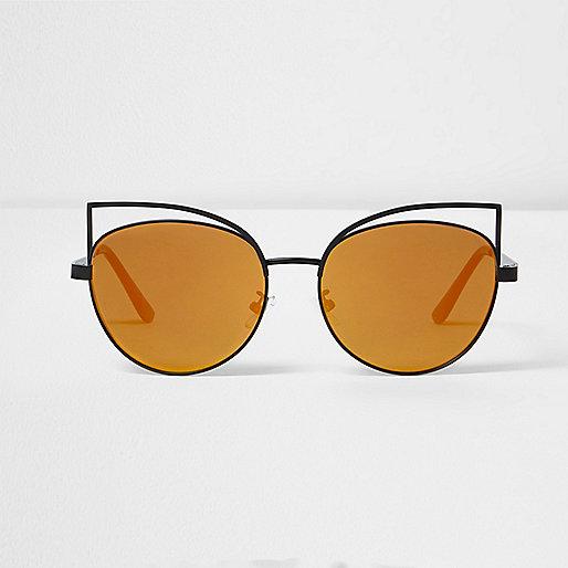 Black wire cat eye rainbow mirror sunglasses