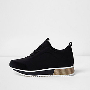 Black scuba chunky runner sneakers