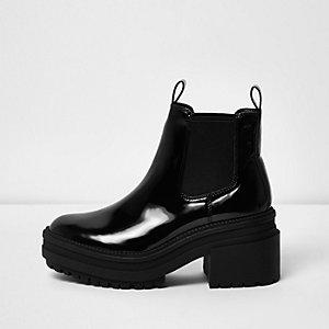 Zwarte lakleren chelsea boots met blokhak