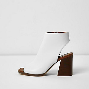 White stacked heel peeptoe shoe boots