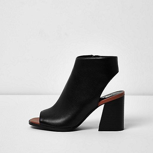 Schwarze Peeptoe-Stiefel mit Blockabsatz