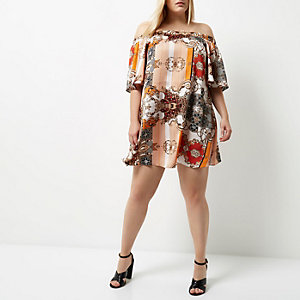 Plus orange print bardot swing dress