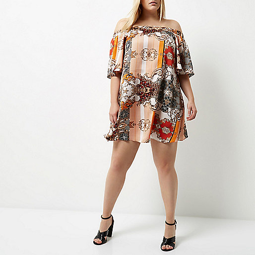 Plus orange print bardot swing dress