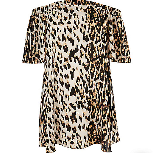 Plus brown leopard print bardot dress