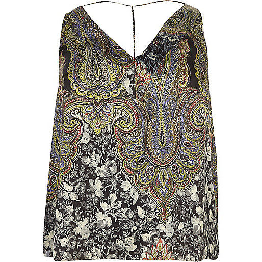 Plus green print T-bar cami top