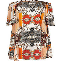 Plus orange print bardot top