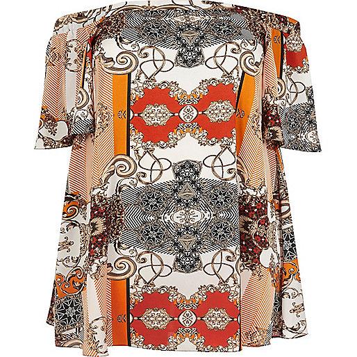 Plus orange print bardot top