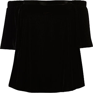 Plus black velvet bardot top