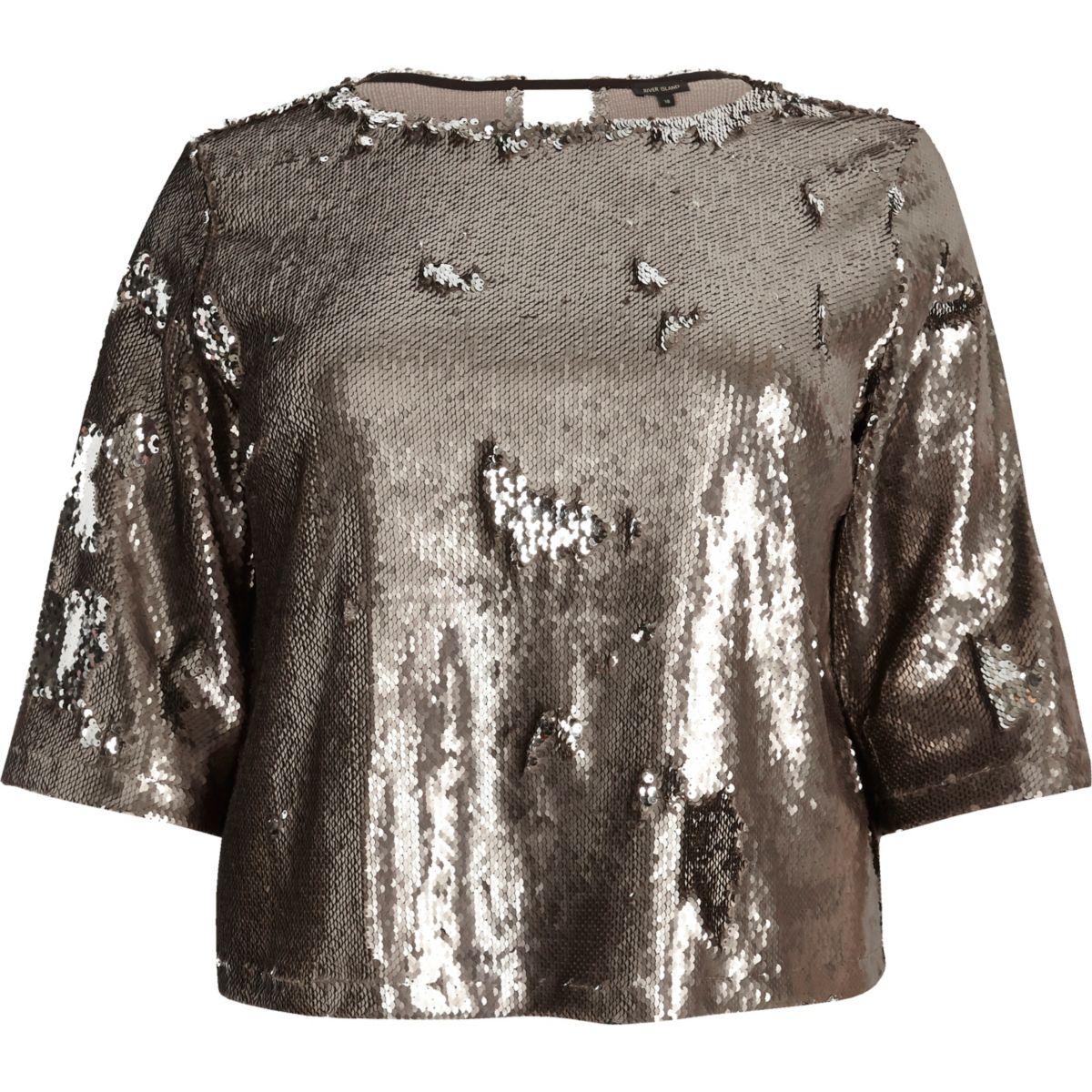 Plus metallic grey sequin grazer top