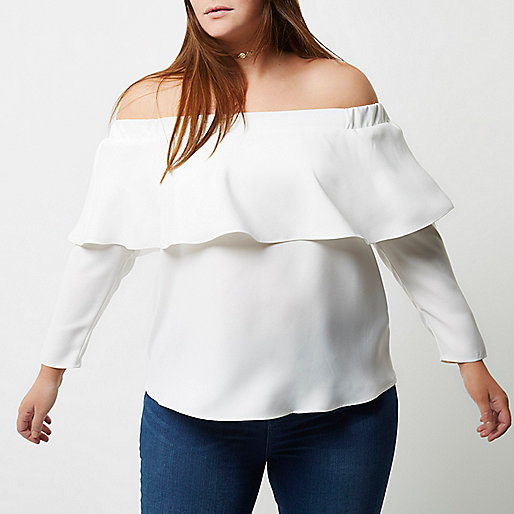 Plus white deep frill bardot top