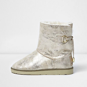 Gold suede faux fur trim slipper boots