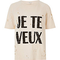 Cream sequin print distressed T-shirt