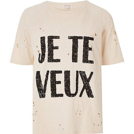 T-shirt imprimé à sequins crème aspect usé