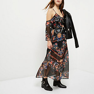 Petite black print cold shoulder midi dress