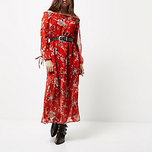 Petite red floral print bardot maxi dress