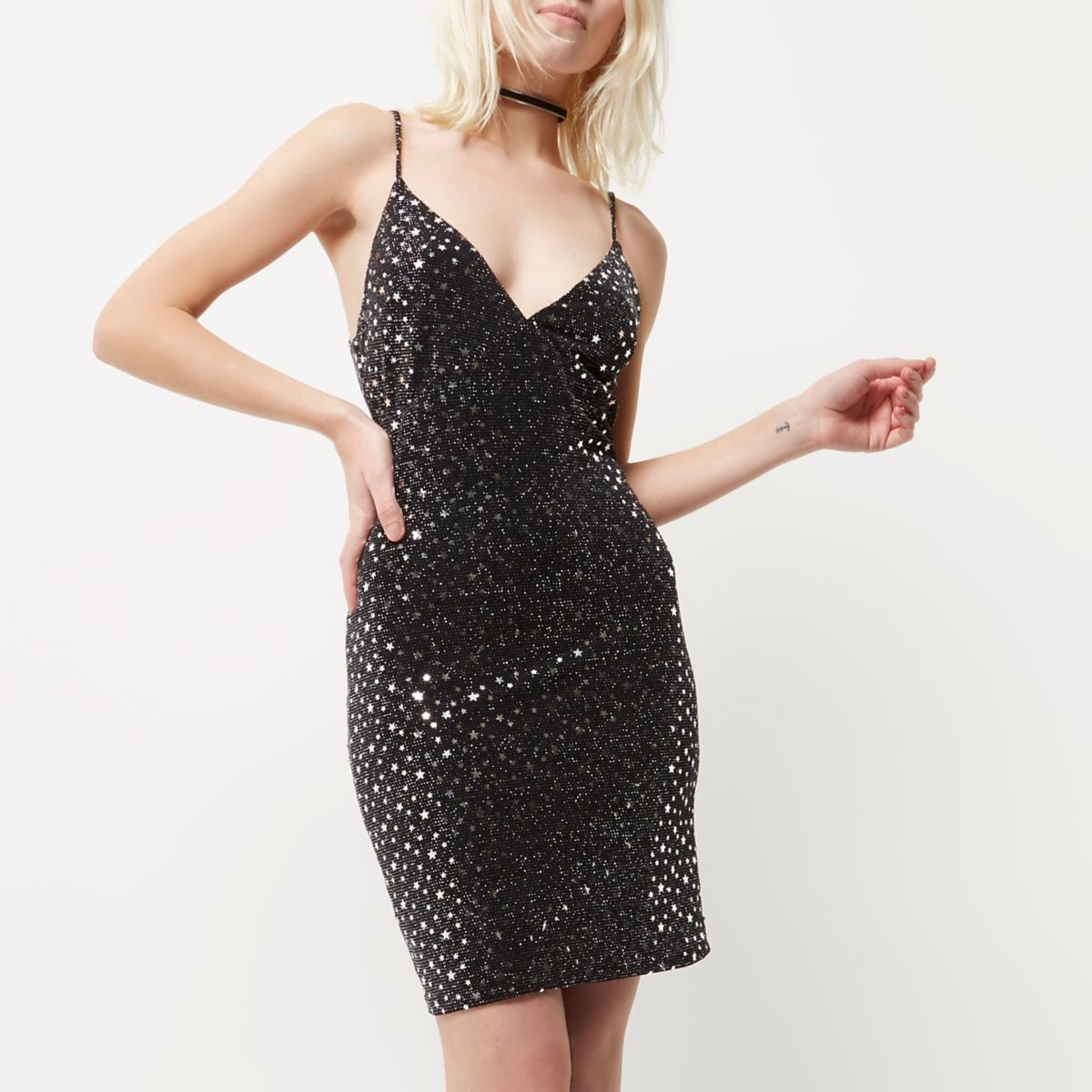 Petite black sparkly star bodycon dress