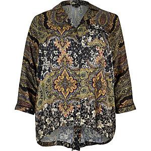 Plus black paisley print shirt
