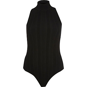Black turtleneck cross back bodysuit