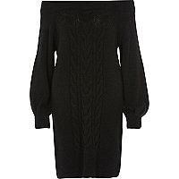 Robe en maille torsadée noire à encolure Bardot