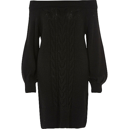 Black bardot cable knit dress