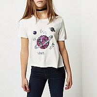T-shirt Petite à imprimé galaxie blanc à sequins