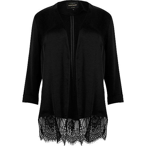 Plus black lace hem duster jacket