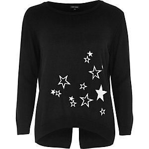 Black knit star embroidered top
