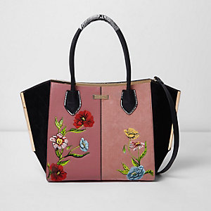 Pink floral embroidered winged tote bag