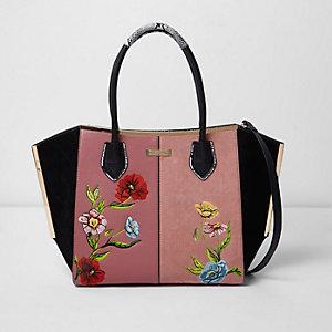 Roze geborduurde handtas met bloemenprint en zij-inzetten