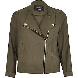 Khaki green soft biker jacket