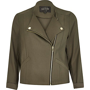 Khaki green soft biker jacket