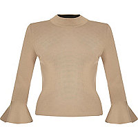 Dark nude knitted flute sleeve top