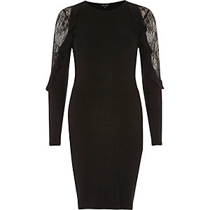 Black frill lace sleeve bodycon dress