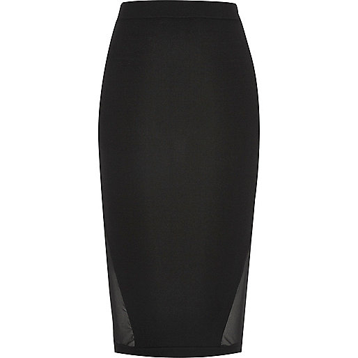 Black sheer panel pencil skirt
