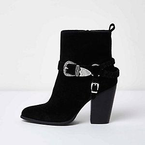 Schwarze Western-Stiefeletten mit Schnalle