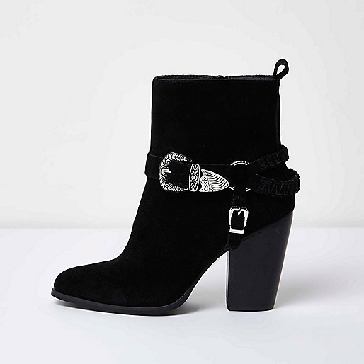Black western buckle ankle boots