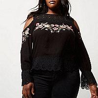 Plus black embroidered cold shoulder top