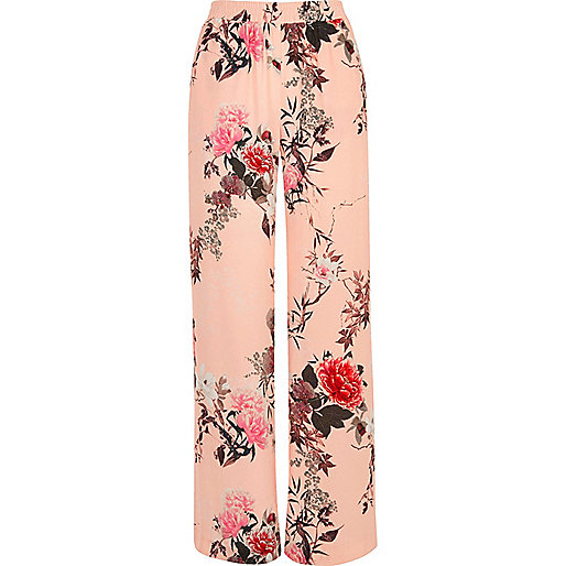 Pink floral print wide leg trousers