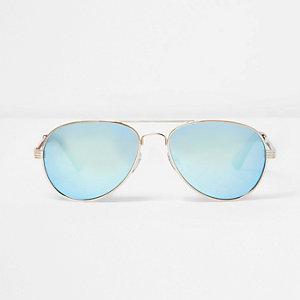 Goudkleurige pilotenzonnebril met blauwe glazen