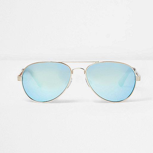 Lunettes de soleil aviateur dorées à verres bleus