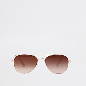 Gold tone pink lens aviator sunglasses