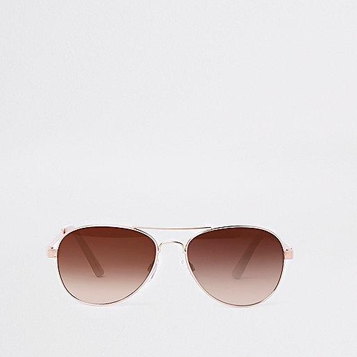 Gold tone pink lens aviator sunglasses