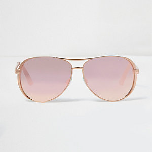 Rose gold tone mirror lens aviator sunglasses